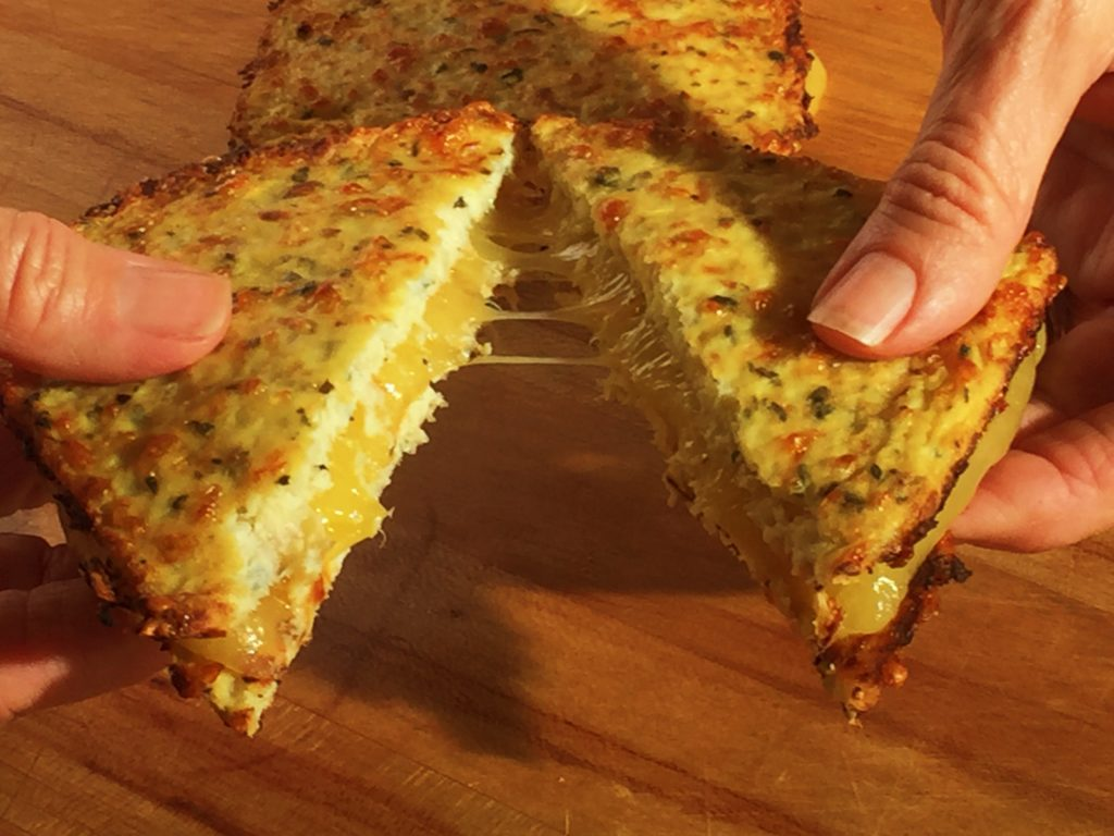 Low-carb, grain free, Cauliflower, toasted cheese sandwich